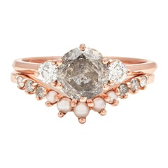 Anna Sheffield 14k Gold Grey & White Diamond and Seed Pearl Hazeline Ring Suite