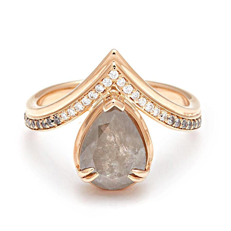 Pear Cut Anna Sheffield 14k Gold, Pear Grey Diamond & White Diamond Pave Butterfly Ring For Sale