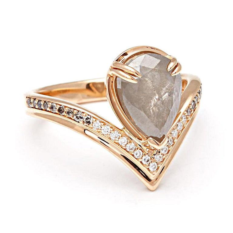 Anna Sheffield 14k Gold, Pear Grey Diamond & White Diamond Pave Butterfly Ring In New Condition For Sale In New York, NY