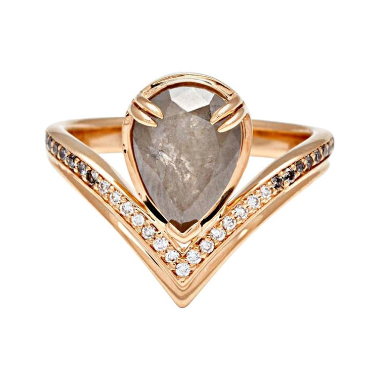 Anna Sheffield 14k Gold, Pear Grey Diamond & White Diamond Pave Butterfly Ring For Sale