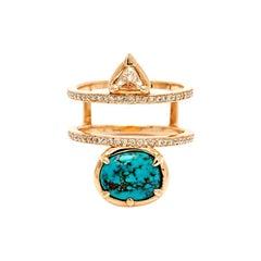 Anna Sheffield 14k Gold Turquoise & Champagne Diamond Reverse Attelage Ring