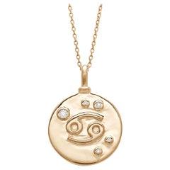 Anna Sheffield 14k Gold & White Diamond Cancer Constellation Charm Pendant