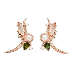 Anna Sheffield 14k Rose Gold Pearl and Peach Morganite Butterfly Earrings, Pair