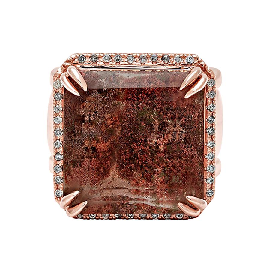 Anna Sheffield 14k Rose Gold, Quartz & Grey Diamond Square Double Band Ring Set