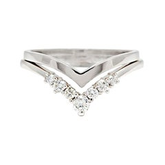 Anna Sheffield 14k White Gold and White Diamond Celestine Nesting Band Pair