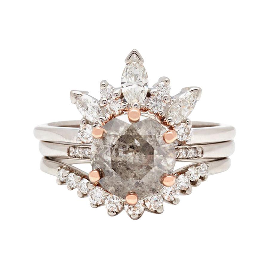 Anna Sheffield 14k White Gold, Grey & White Diamond Hazeline Engagement Suite