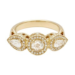 Anna Sheffield 14k Yellow Gold 1.75ct Rose Cut White Diamond Astarte Ring