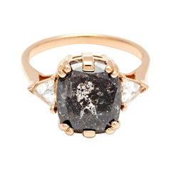 Anna Sheffield 14k Yellow Gold 5.55 Carat Black Diamond Bea Three Stone Ring