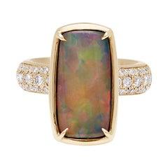 Anna Sheffield 14k Yellow Gold, Black Opal & Grey Diamond Eleonore Tria Ring