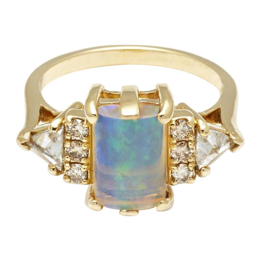 Anna Sheffield 14k Yellow Gold, Opal Cabochon & Diamond Stardust Bea Ring