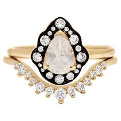 Anna Sheffield 14k Yellow Gold Rainbow Moonstone & Diamond Camellia Ring Suite