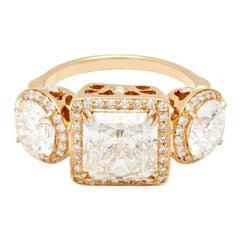 Anna Sheffield 18k Gold 3 ct 'J/SI2' Princess Cut White Diamond Astarte Ring