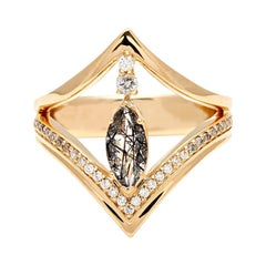 Anna Sheffield 18k Gold Black Rutilated Quartz & Diamond Marquise Chrysalis Ring