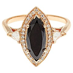 Anna Sheffield 2.00 Carat Black Diamond Marquise Bea Halo Ring