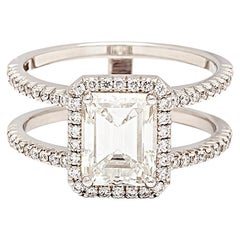 Anna Sheffield 2.00ct F/VS1 Emerald Cut and Halo White Diamond Engagement Ring