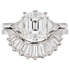 Anna Sheffield Bea Emerald Cut White Diamond Baguette Ring Set