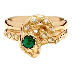 Anna Sheffield Emerald and White Diamond Victorian Serpent Ring