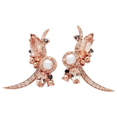Anna Sheffield Pearl and Champagne Diamond Butterfly Earrings (Pair)