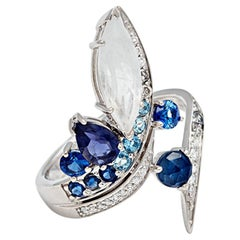Anna Sheffield Sapphire, Rainbow Moonstone and White Diamond Butterfly Wrap Ring