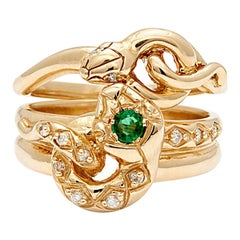 Anna Sheffield Emerald and White Diamond Victorian Serpent Ring Set