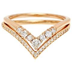 Anna Sheffield White Diamond Chevron Nesting Wedding Band Pair