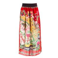 Anna Sui Florida Plisse Printed Silk Midi Skirt US 4