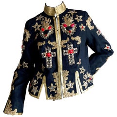 Anna Sui MAD Museum Exhibited Embellished Cropped Linen Military Jacket