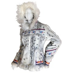 Anna Sui MAD Museum Exhibited Faux Shearling Folkloric Hooded Jacket