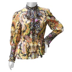 Anna Sui Paisley Silk Blend Pleated Peplum Sheer Blouse c 1990s US Size 4