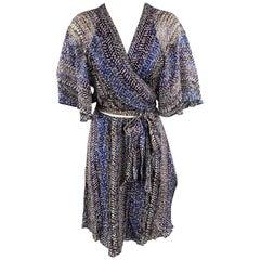 ANNA SUI Size 12 Blue Cutout Cape Sleeve Wrap Dress