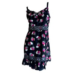 Anna Sui Vintage Silk Cupcake Pattern Party Dress