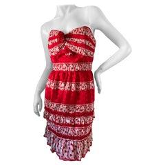 Anna Sui Vintage Strapless Silk Polka Dot Party Dress