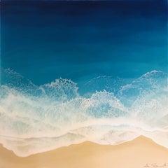 """""""Blue Ocean"""" Mixed Media painting of aerial view of deep blue ocean"""