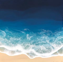 """Liquid Sea"" mixed media painting of blue ocean waves from aerial view"