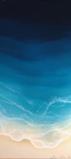 """Liquid Vertical"" mixed media painting of aerial view of deep blue ocean waves"