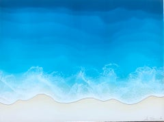 """""""Neap Tide"""" mixed media painting of deep blue ocean waves from aerial view"""