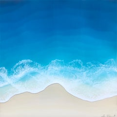 """Ocean Tide"" mixed media painting of a deep blue ocean from aerial view"