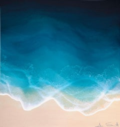 """Sea Spray"" mixed media painting of blue ocean waves from aerial view"