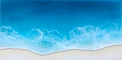 """Smooth Sailing"" mixed media painting of deep blue waves from aerial view"