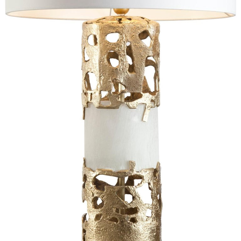 French Anna Table Lamp Bronze and Selenite For Sale