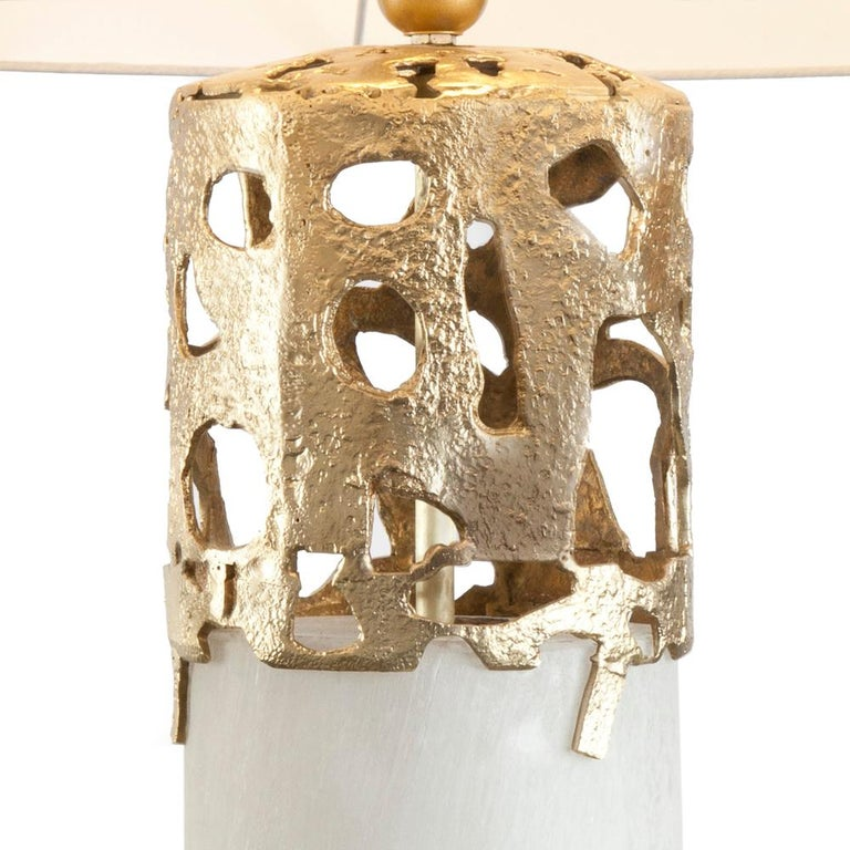 Forged Anna Table Lamp Bronze and Selenite For Sale