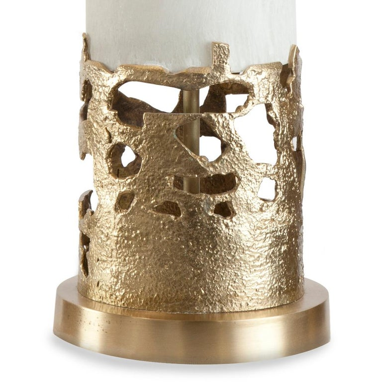 Contemporary Anna Table Lamp Bronze and Selenite For Sale