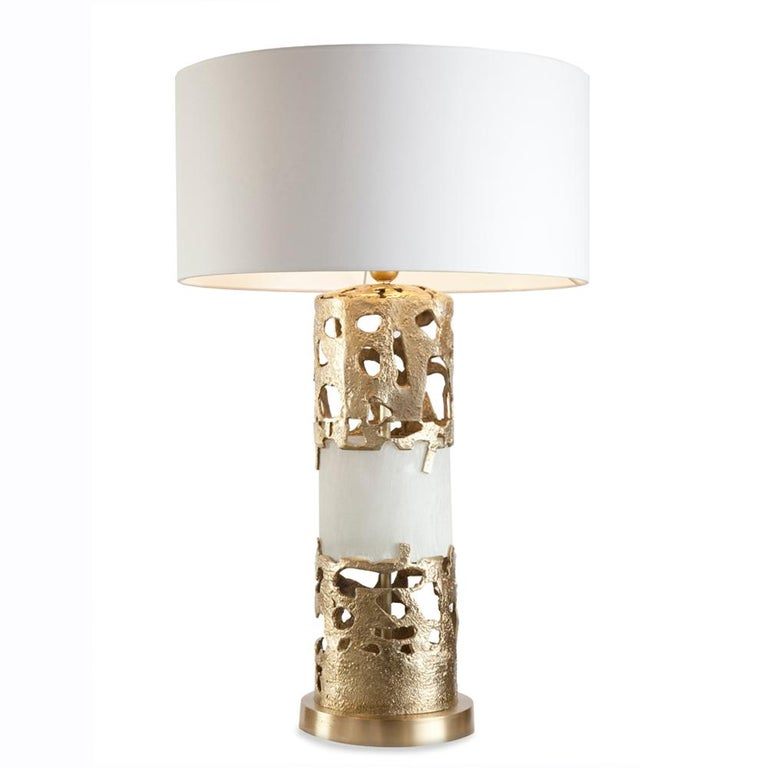 Anna Table Lamp Bronze and Selenite For Sale