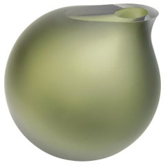 Anna Torfs Vaza Large Glass Vase or Sculpture in Moss Green
