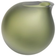 Anna Torfs Vaza Large Glass Vase / Sculpture in Moss Green