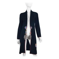 Anna Trzebinski Suede Coat with Feather and Bead Detail