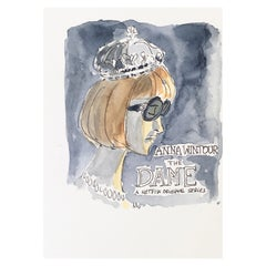 Anna Wintour, the Dame, One of a Kind Watercolor