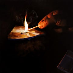 """""""Lighting a fire"""" Oil Painting"""