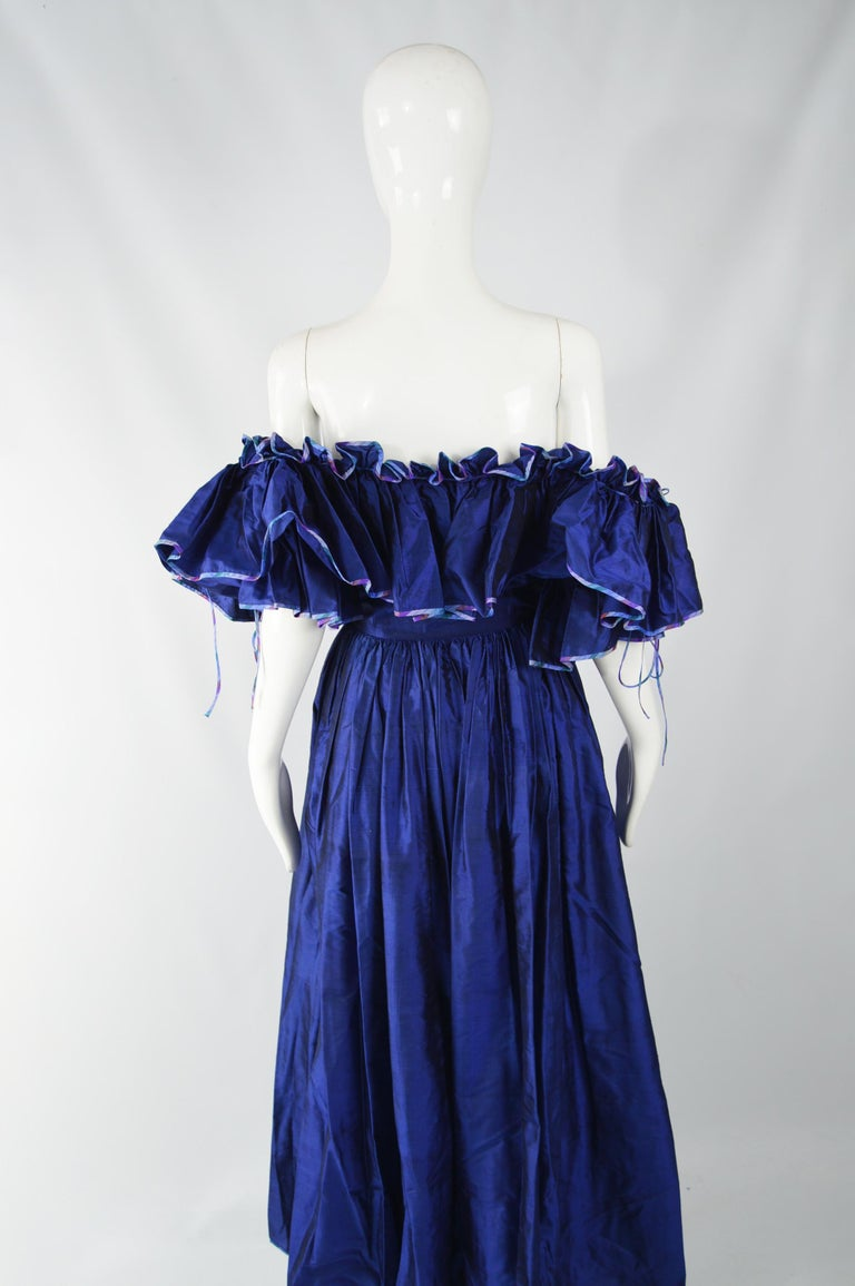 Annabelinda 1970s Silk Romantic Evening Dress For Sale 1