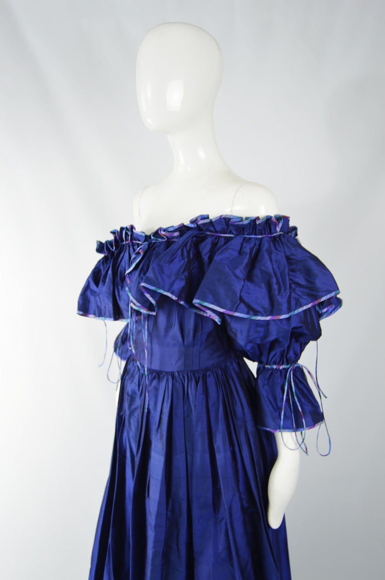 Annabelinda 1970s Silk Romantic Evening Dress For Sale 4